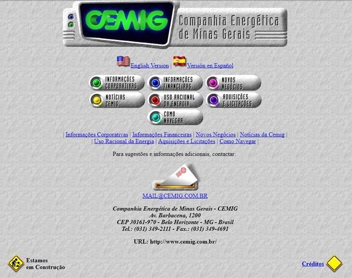Página da Cmig em 26 de dezembro de 1996